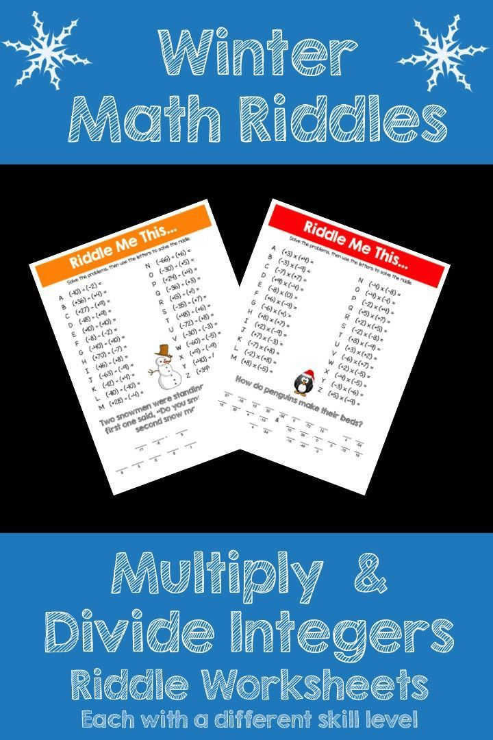 Make multiplying and dividing integers FUN this Winter! This activity is full of computation practice. The students also have a goal of solving a riddle at the end. It is a great way to combine fun and learning! The Pack includes 2 different x/÷ integer riddle worksheets at varying levels.