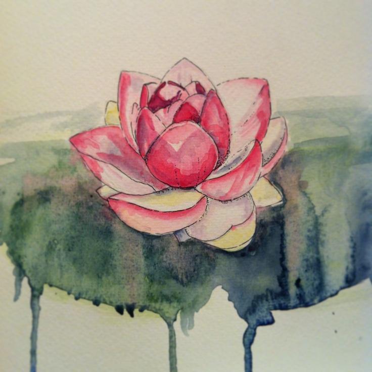 #lotusflower #watercolours #fineliner