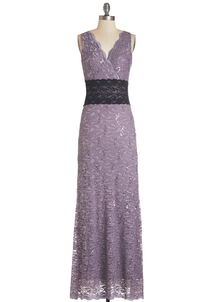 Dusky Dreaming Dress. As you sashay home from tonights party, the low light from the sun catches the subtle sequins of this dusky-lavender maxi dress. #purple #prom #modcloth