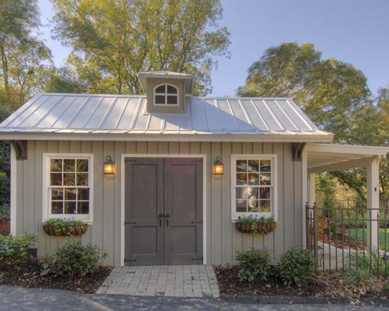 Garden Shed Design, Pictures, Remodel, Decor and Ideas - page 14 Like the window boxes and lights