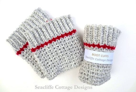 Crochet Boot Cuffs Boot Toppers Work Sock Grey by SeacliffeCottage