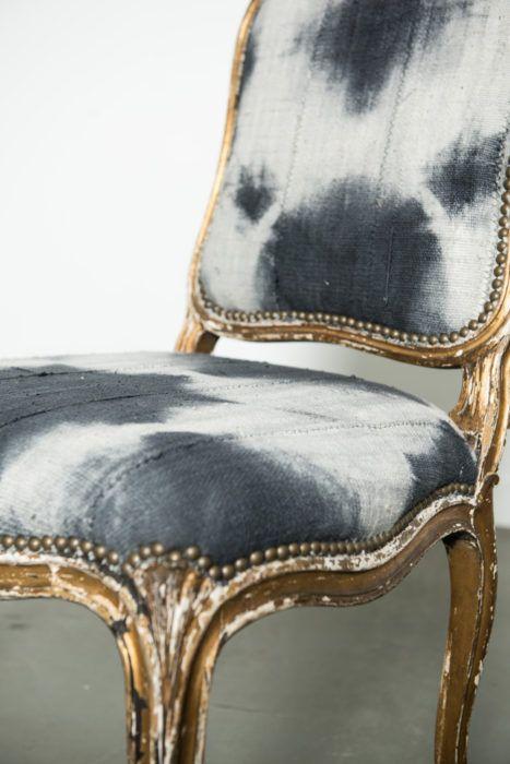 black tie dyed vintage mud cloth . antique frame