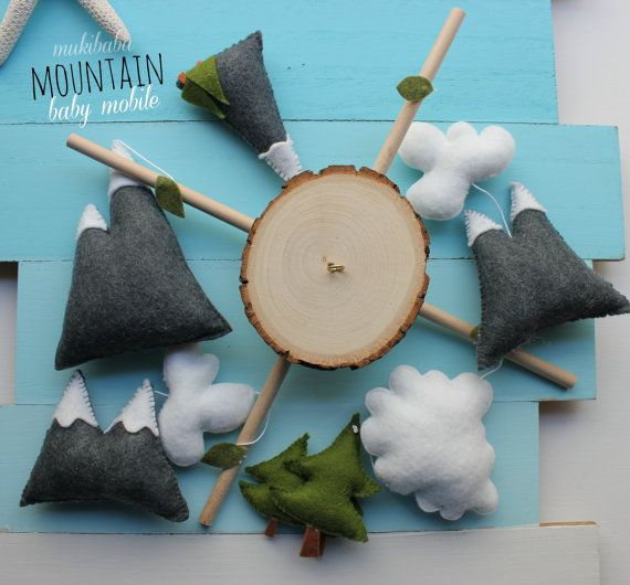 Baby Mobile - Mountain Woodland baby mobile Woods Gender neutral mobile Grey and white