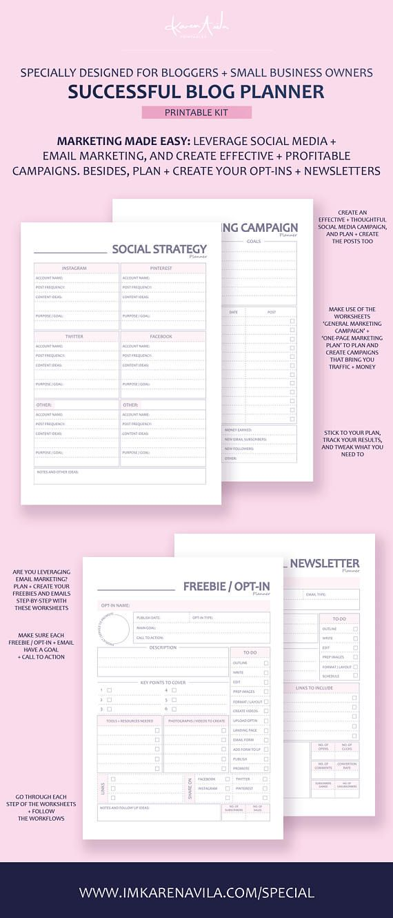 Printable Blog Post Planner to help you create an editorial calendar for your blog. Plan and execute a successful strategy for your blog + social media + newsletters with this printable blogging planner to bring in more traffic and revenue! #blogger #fashionblogger #foodblogger #travelblogger #blog #editorialcalendar #blogcontent #marketingblog #onlinebusiness #entrepreneur #blogging #blogplanner #blogplan #socialmediaplan #blogstrategy #etsyshop #etsyseller