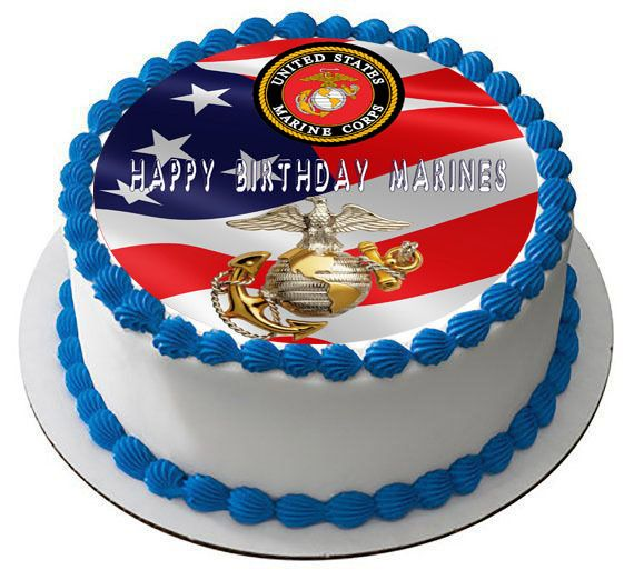 US MARINE CORPS Edible Birthday Cake Topper
