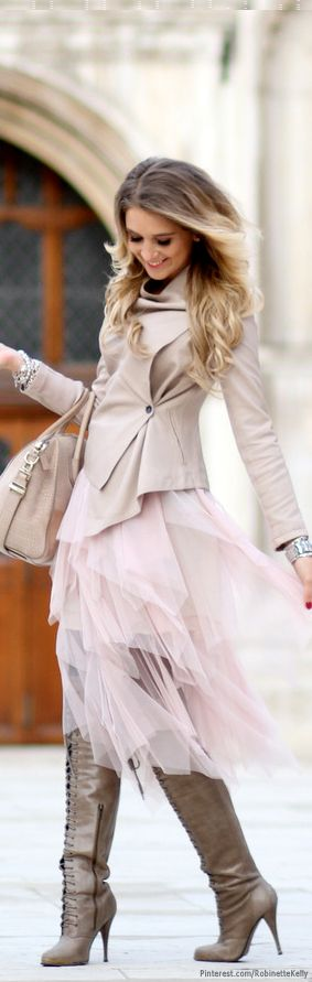 Street Style / Blush: Mixing textures is a powerful technique, this tulle skirt works well with the leather boots and jacket.