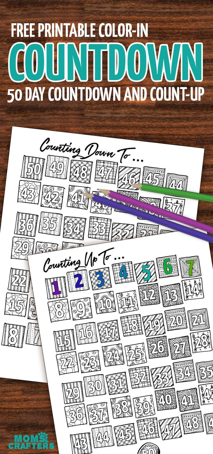 Color in the days as they pass - this free printable countdown calendar and progress tracker are so much fun - when it's colored in the big day is here! Use it to track progress (count up) - days sugar-free, diet calendar, or even to count the Omer (sefirat haomer). Use the countdown to anticipate your travels or to count toward a holiday...