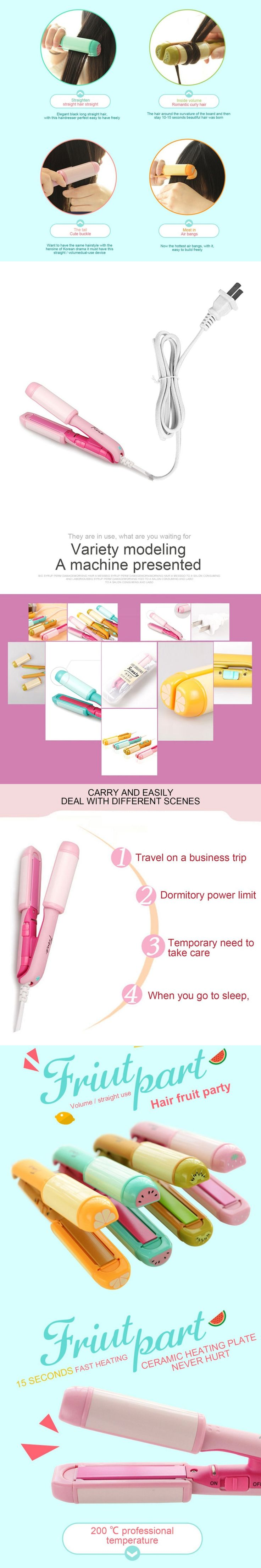 1 pcs Mini Cute Fruit Style Straightening and Curling Irons Portable Hair Curler Electric Hair Straightener 220V new