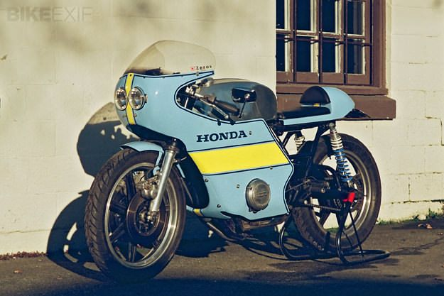"""There's a great story behind this Honda, owned by 33-year-old Chris Booth of Vancouver BC. Until he was 28, Chris swore that he'd never ride a motorcycle: """"They're far too dangerous."""" Then he went on a road trip to Speed Week at Bonneville with three friends. Chris had never thrown a leg over a bike…"""