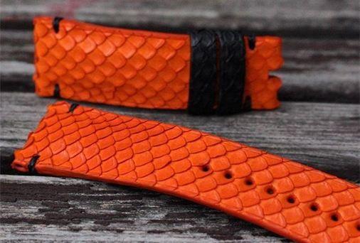 Orange Python with Black Python Keepers  + Minimal Black Stitching