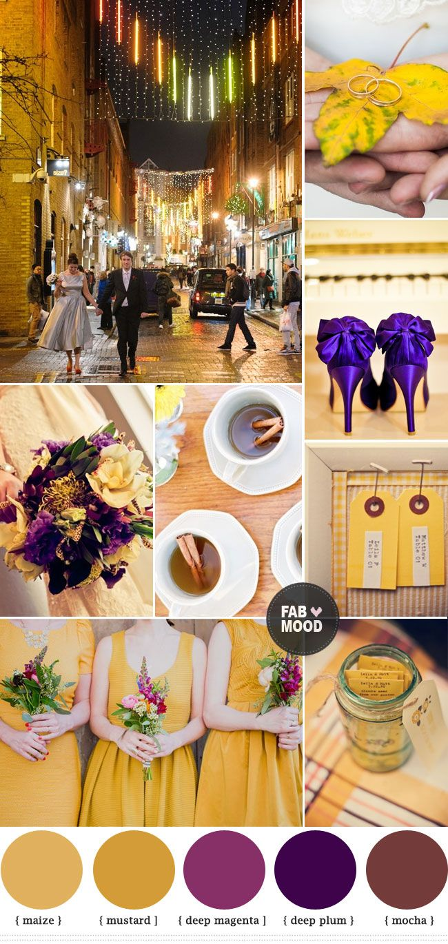 autumn wedding colors purple and yellow. Flip around with purple as main and yellow as accent.  add grey