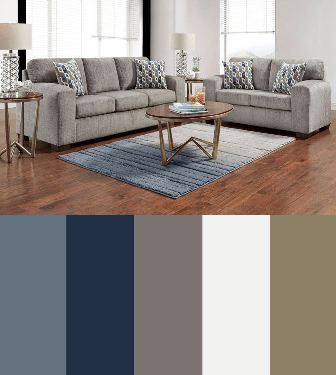 Best Silverton Pewter Sofa Loveseat Collection In 2020 Blue 640 x 480