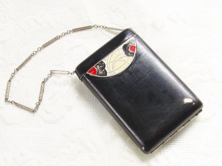 Monedero Art Deco Vintage Negro Polvo compacto del lápiz labial de la danza