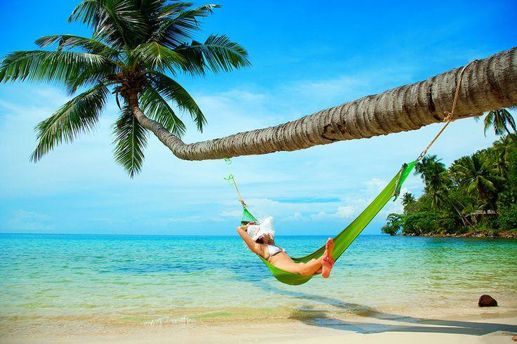 Beautiful Sea Tropical Beach Hammock Palm Tree Poster