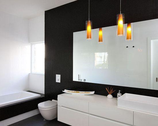Projeto fazer Banheiro, Charme moderno preto e Branco Banheiros Idéias tambem fresco Pequeno Preto Tiling Parede tambem Branco Modern Lavatório ...