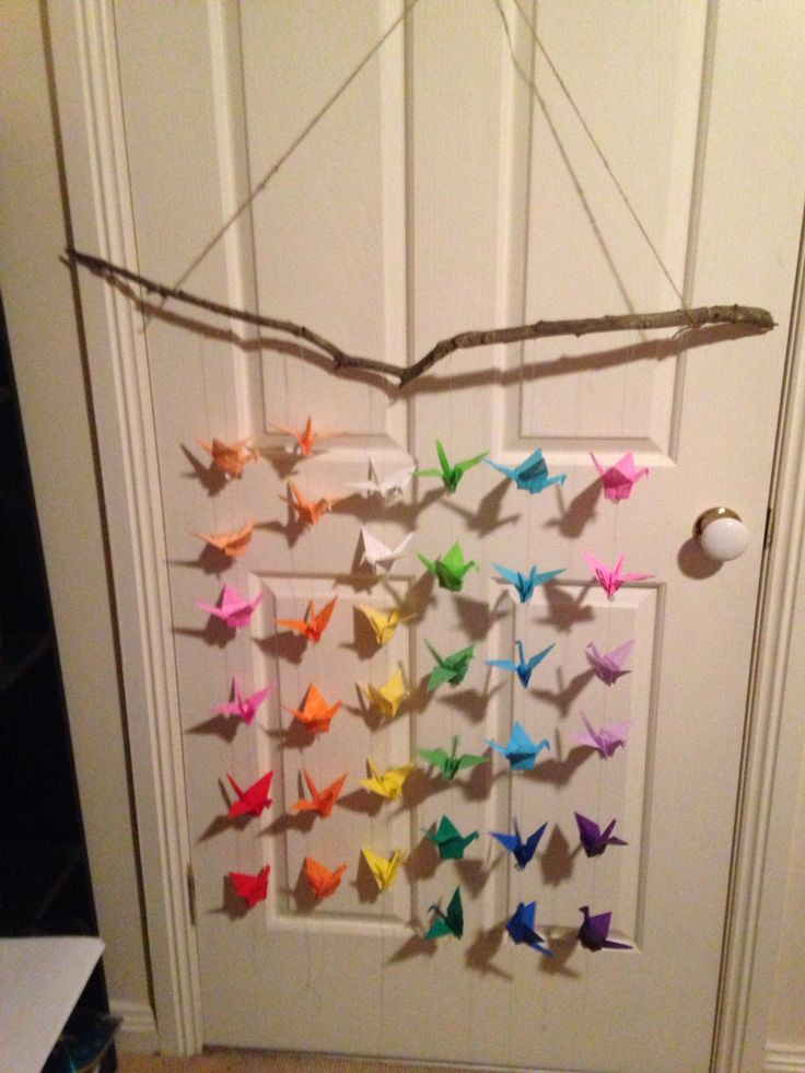 Rainbow paper crane wall mobile
