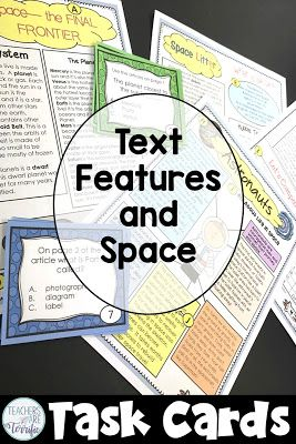 Text features and task cards all about Space!