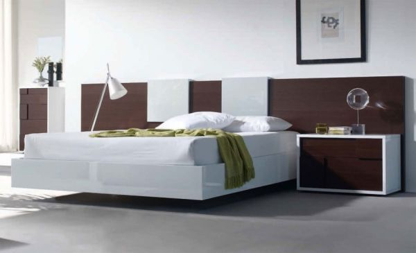 Modern floating bed in a soothing setting