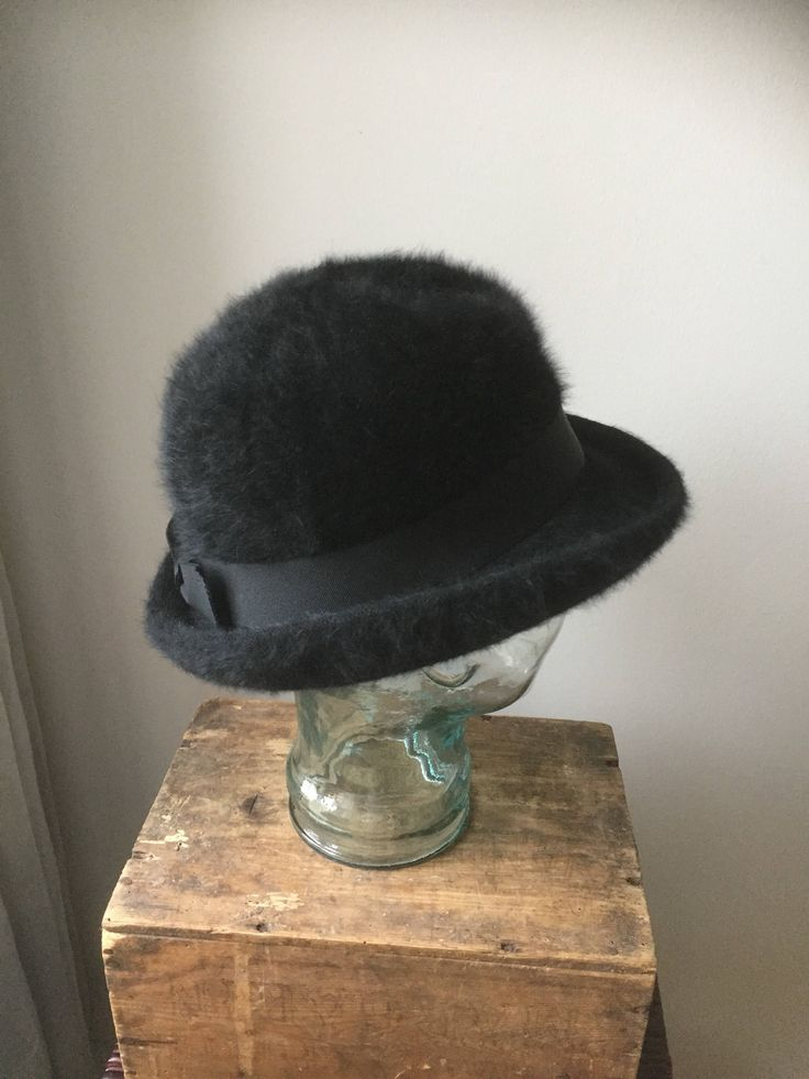 Vintage/Kangol/hat/angora/black/made in England/bowler style /cloche by WifinpoofVintage on Etsy