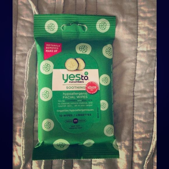 YES to cucumbers soothing facial wipes Brand new never opened. 10 wipes in package YES  Accessories