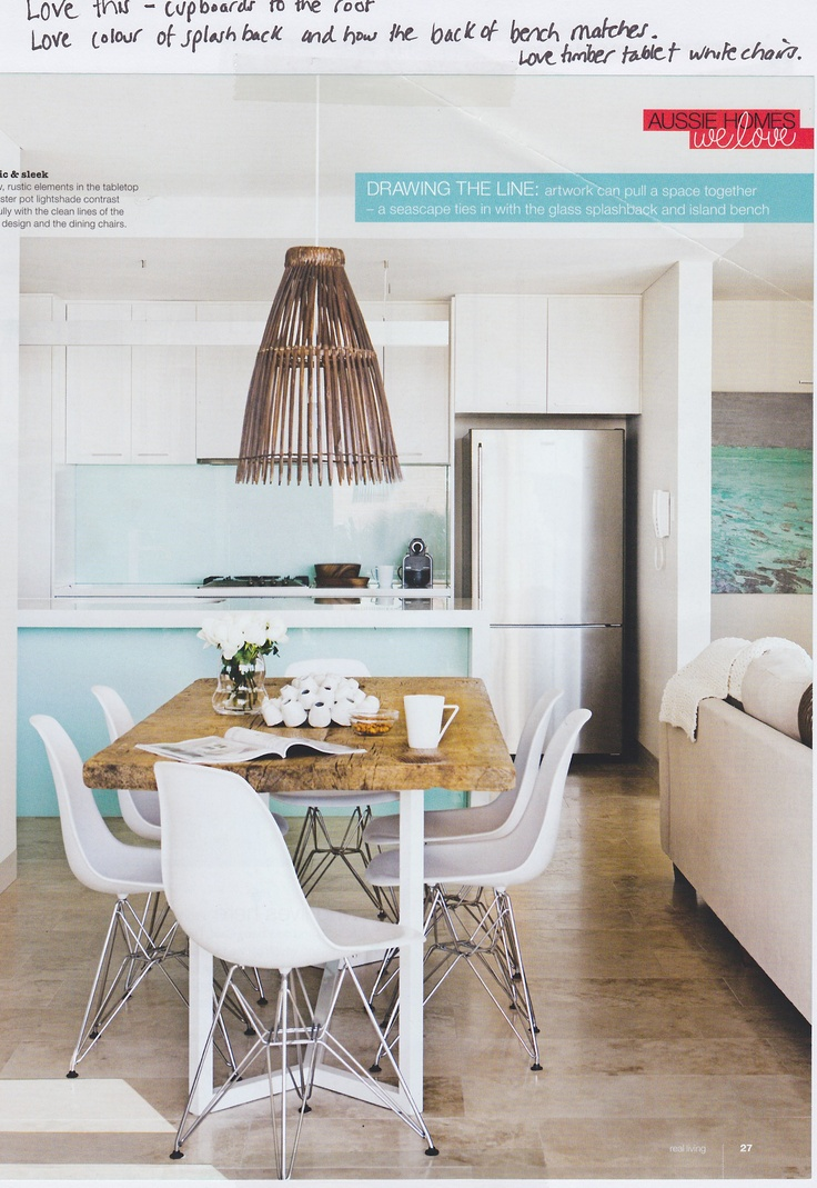 Love this kitchen splashback at how the back of the bench matches