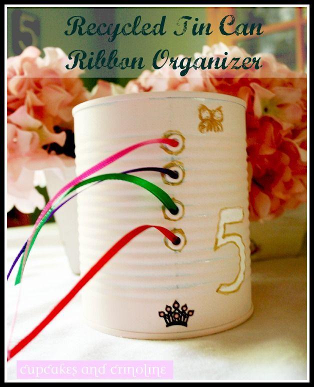 Ribbon Organizer ~ Recycled Tin Can - Cupcakes & Crinoline