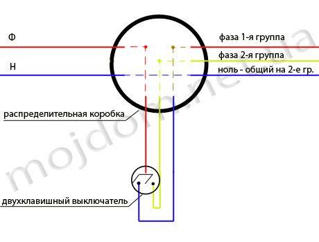 Схема соединения проводов для двухклавишного выключателя