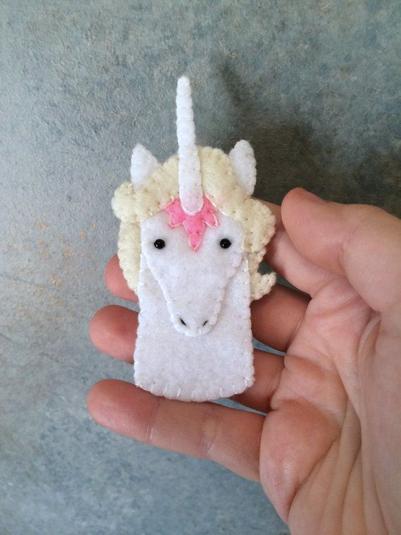The Last Unicorn Unicorn Felt Finger Puppet by LumpyButtonsGifts