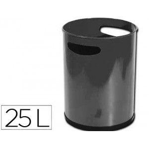 Práctica papelera de oficina metálica con asas en color negro y que ofrece una gran capacidad de residuos de 25 litros