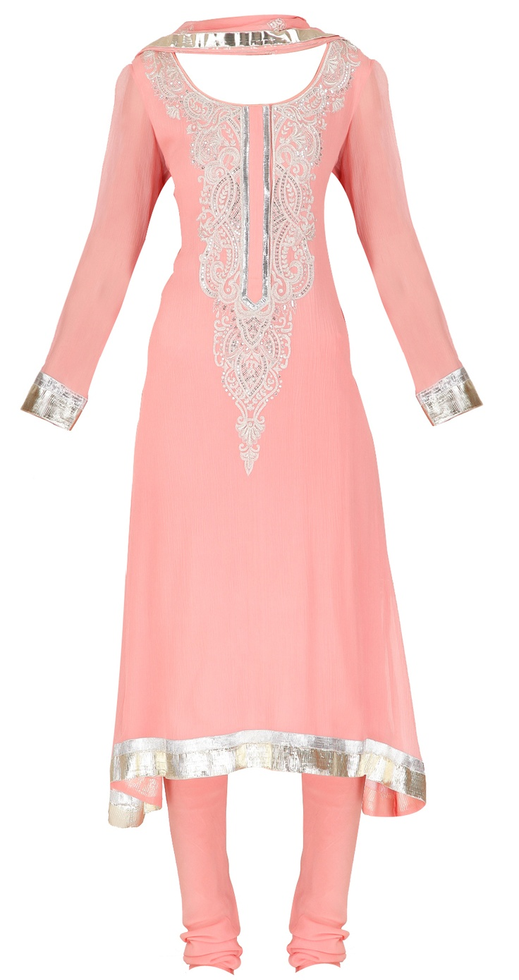 Baby pink suit with embellished neck by SHEHLA KHAN. Shop at https://www.perniaspopupshop.com/whats-new/shehla-khan-3