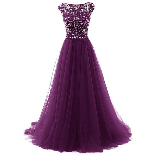 Tideclothes Long Beads Prom Dress Tulle Cap Sleeves Evening Dress ($91) ❤ liked…