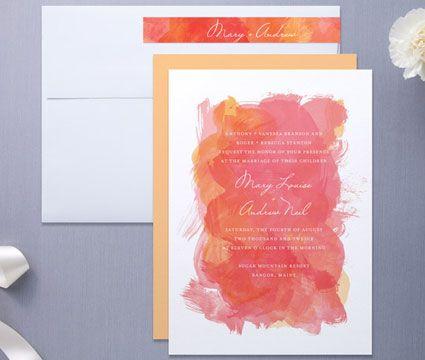 Invitación de Matrimonio Rosa y Naranja -- Fotografía: Minted