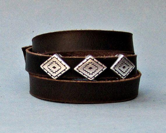 Rhombus Mens Leather Wrap Bracelet Cuff Geometric by GUSFREE