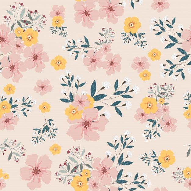 Pink And Yellow Flower Seamless Pattern In 2020 Pink Flowers Background Blue Flowers Background Watercolor Pattern Background