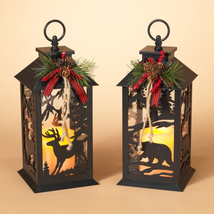 lantern with floral accent and winter scene set