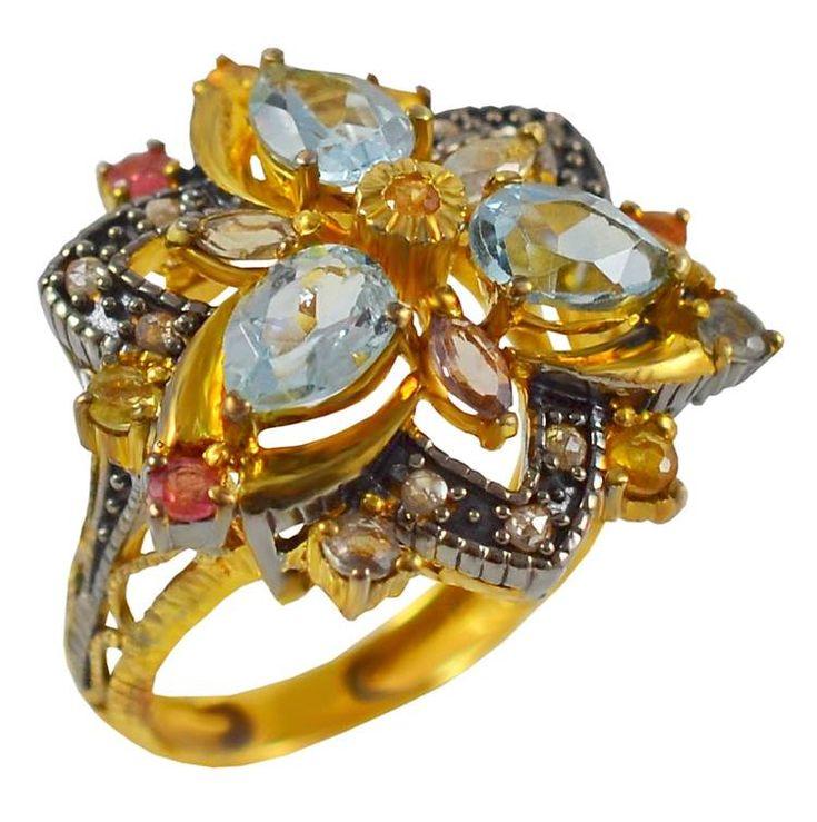 ES200- Ασημένιο επίχρυσο δαχτυλίδι με πολύχρωμες πέτρες