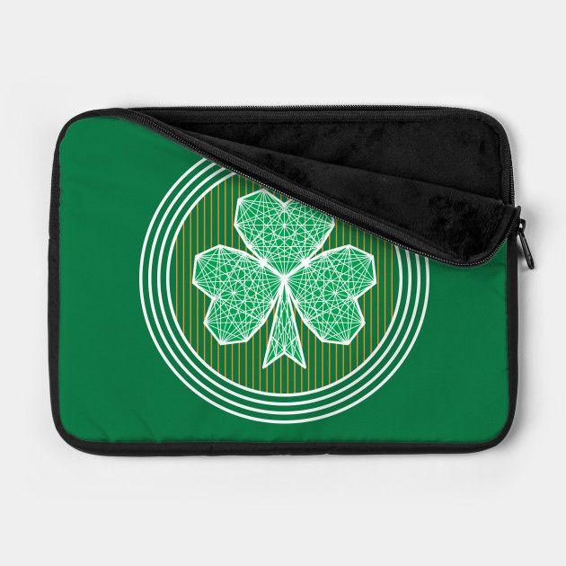 Geometric Shamrock Laptop Case by Fimbis  _________________________________ Ireland, Irish, Saint Patricks Day, St Patricks Day, Saint Paddys Day, St Paddys day, stripes, Ulster, Munster, Leinster, Connacht, Eire, laptop sleeve, fashion, Macbook pro, Lenovo, rugby, 6 nations,