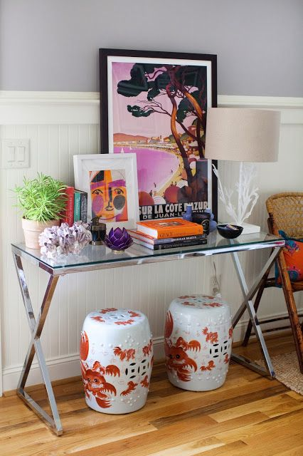 Foyer Table With Stools : Glass and metal console table foo dog garden stools