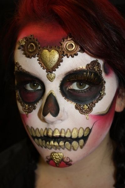 ♥Sugar Skull with red and gold