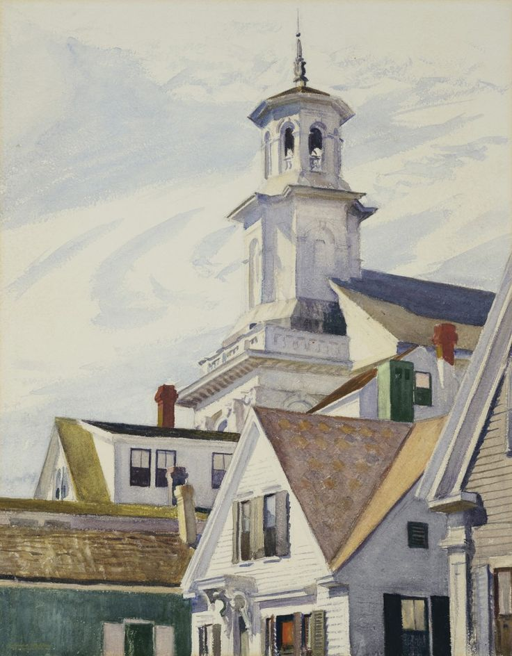 Edward Hopper, American (1882–1967), Methodist Church Tower, 1930, watercolor on paper, 25 x 19¾ in., Wadsworth Atheneum Museum of Art, The Ella Gallup Sumner and Mary Catlin Sumner Collection Fund, 1951.19