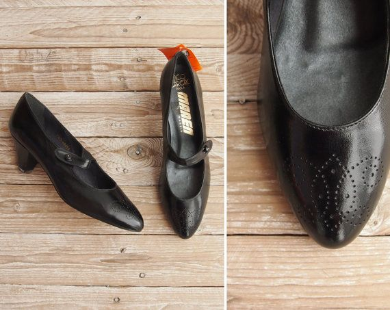 Deadstock Mary Janes  Vintage 80s Black by GoldenCraneVintage