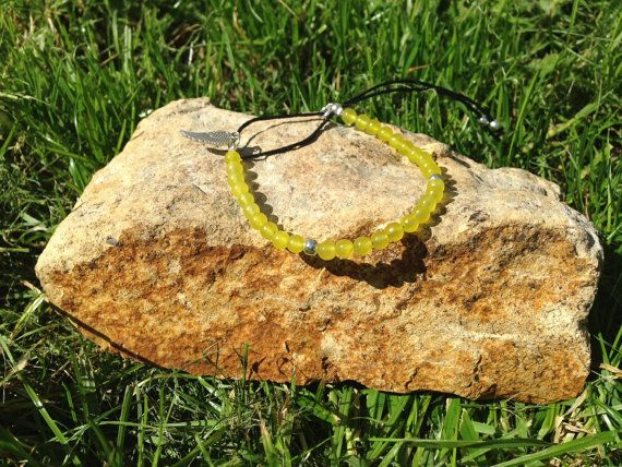 Peridot Jade Stacking Bracelet by AppleBlossomJewel on Etsy