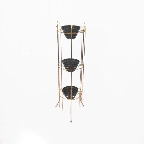 Mid century modern mcm plant stand metal tiered tripod original black - Tiered metal plant stand ...