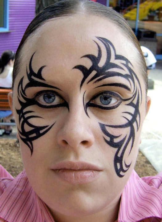 The 25 best tribal face paints ideas on pinterest for Face tattoo makeup