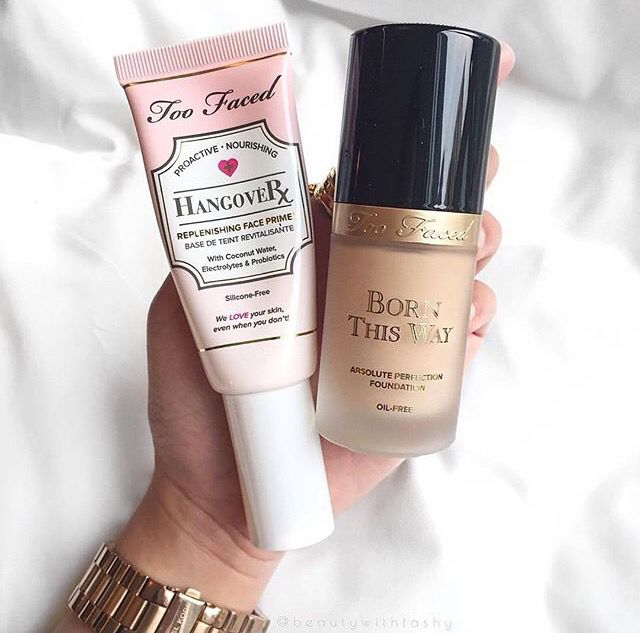 too faced hangover rx primer + born this way foundation