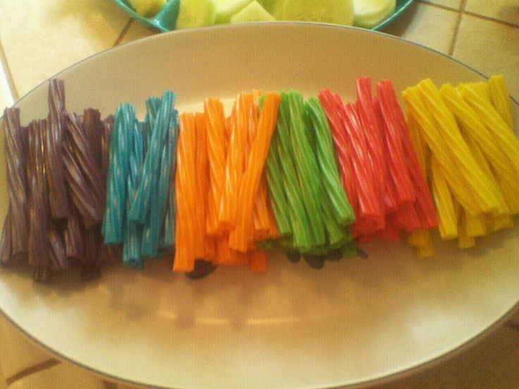 Twizzlers For Rainbow Party Food I Cut Them In 1 2 And Sorted By