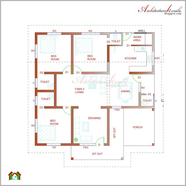 22 best images about low medium cost house designs on for House plan kerala style free download