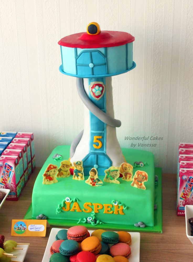 This PAW Patrol look-out tower cake looks just like the one Mr. Porter makes on the show.