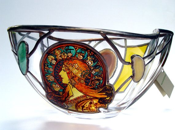 """11"""" x 8"""" x 5"""" (280 mm x 200 mm x 130 mm) Massive, glass, bright, hand-painted decorative vase, product of Czech glass factories. Precise copy of Mucha's artwork."""