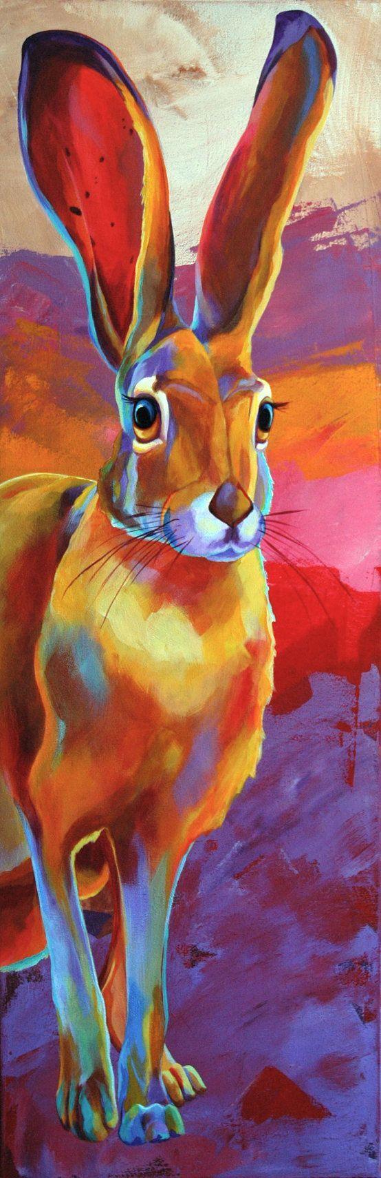 Jack Rabbit  Original Rabbit Giclee PRINT  By by CorinaStMartinArt, $15.00 color theory example:
